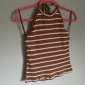 Tops - Striped halter tube top size large with open back